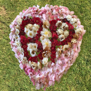Heart made from camellia blossom