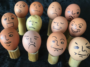 Eggs and potato with faces