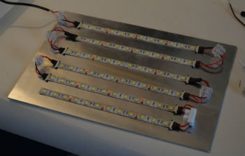 72 light emitting diodes on an aluminium plate, which acts as a heat sink