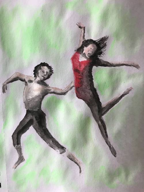 Water colour painting of dancers