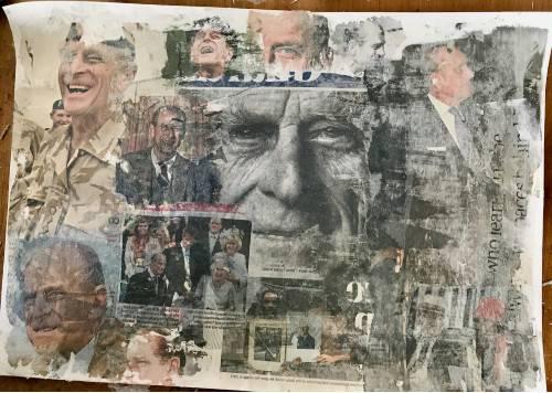 Collage comprising multiple images of Duke of Edinburgh, recently deceased
