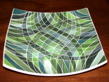 Painted dish by Peter Heywood
