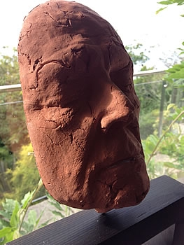 Clay moulding of my face by Peter Heywood