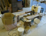 Set up for slip-casting segments for ceramic hollow ring project by Peter Heywood