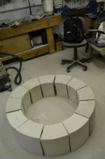 12 segments laid out for the ceramic hollow ring project by Peter Heywood