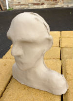 Slip cast head for experiments in modifying it, for heads in boxes project by Peter Heywood