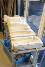 Moulds for slip-casting figures for Faces project by Peter Heywood