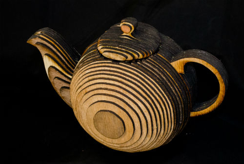 Teapot made from plywood
