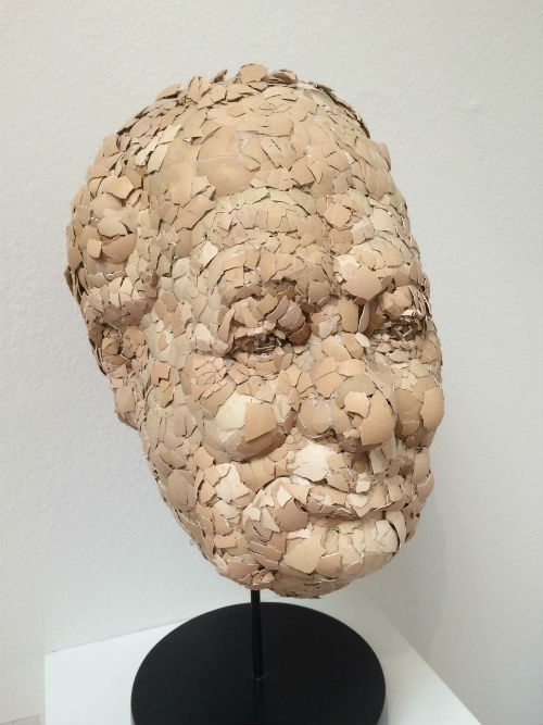 head made from egg shells