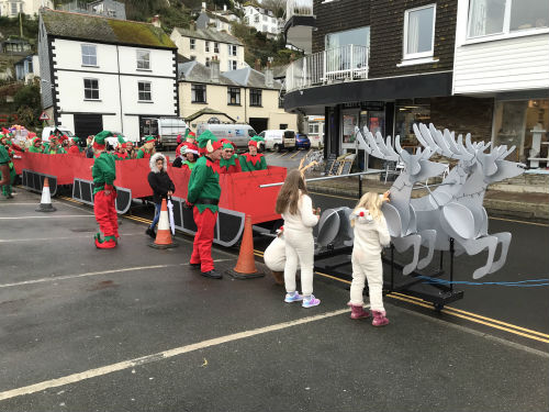 Reindeer and sleds in Looe's Xmas celebrations